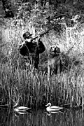 Govan Framed Prints - Duck Hunter with his Dog  2 Framed Print by Andrew Govan Dantzler