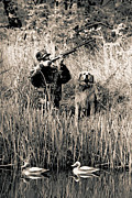 Scenes And Views Photos - Duck Hunter with his Dog by Andrew Govan Dantzler
