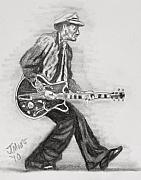 Music Legend Drawings Originals - Duck Walk by Jeremy Moore