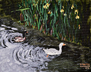 Ducks Paintings - Ducks at Cambridge UK by Dorothy Krajewski