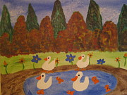 Enjoying Drawings Prints - Ducks in a pond Print by Brenda Harris