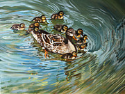 Ducks Paintings - Ducks by Kimberly VanDenBerg