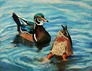 Ducks Pastels - Ducks by Marion Derrett