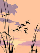 Stylized Painting Posters - Ducks Sunset 1980s original acrylic ducks sunset large 1980s pop art nouveau painting retro      Poster by Walt Curlee