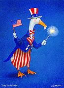 Patriotic Painting Posters - Ducky Doodle Dandy... Poster by Will Bullas