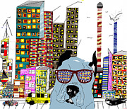 Homes Mixed Media Prints - Dude In The City Print by Brian Buckley