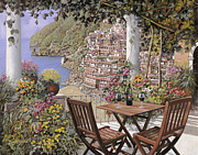 Vacation Painting Posters - due bicchieri a Positano Poster by Guido Borelli