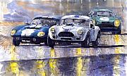 Classic Cars Posters - Duel AC Cobra and Shelby Daytona Coupe 1965 Poster by Yuriy  Shevchuk