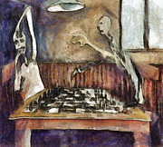 Player Mixed Media Metal Prints - Duel of the chess players Metal Print by Michal Boubin