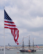 Old Ironsides Prints - Dueling flags Print by Paul Treseler