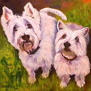 Terrier Dog Drawings Framed Prints - Duet of Westies Framed Print by Susan A Becker