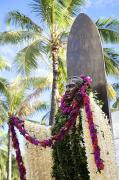 Featured Metal Prints - Duke Kahanamoku Covered in Leis Metal Print by Brandon Tabiolo