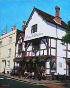 Hanging Baskets Paintings - Duke of Wellington Tudor pub Southampton by Martin Davey