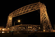Duluth Art - Duluth Bridge at NIght by Donna Anderson