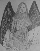Wings Drawings - Dumas Spirit pencilled by Justin Moore