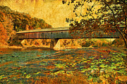 New England Landscapes Digital Art Framed Prints - Dummerston Bridge Framed Print by Nigel Fletcher-Jones