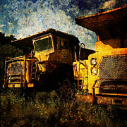 Machinery Digital Art Framed Prints - Dump Trucks Framed Print by Amy Cicconi