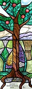Flora Glass Art Posters - Dunbar Height Creation Tree Poster by Gilroy Stained Glass