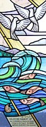 Stained Glass Art Metal Prints - Dunbar Heights Seascape Metal Print by Gilroy Stained Glass