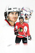 Hockey Pastels Posters - Duncan Keith Poster by Jerry Tibstra