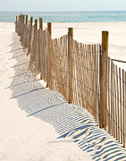 Slat Digital Art - Dune Fence on Beach by Cheryl Casey