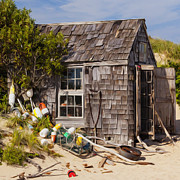 Seashore Digital Art Metal Prints - Dune Shack Metal Print by Bill  Wakeley