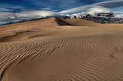 Great Sand Dunes National Preserve Posters - Dunes Ripples And Clouds Poster by Adam Jewell