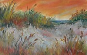 Sand Dunes Pastels - Dunes with Orange Sky by Karen Ann Patton