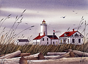 Seashore Painting Framed Prints - Dungeness Lighthouse Framed Print by James Williamson