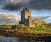 Ancient Photo Prints - Dunguaire Castle with Dramatic Sky Kinvara Galway Ireland Print by Juli Scalzi