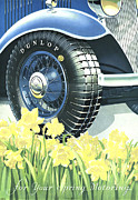 Tires Drawings Posters - Dunlop 1934 1930s Uk Tyres Daffodils Poster by The Advertising Archives