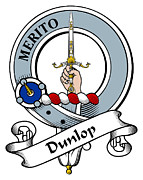 Genealogy Prints - Dunlop Clan Badge Print by Heraldry