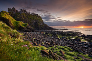 Derek Smyth Framed Prints - Dunluce Sunset Framed Print by Derek Smyth