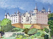 Chimneys Painting Framed Prints - Dunrobin Castle Framed Print by David Herbert