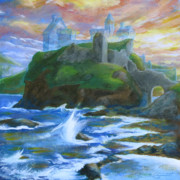 Ruins Drawings Metal Prints - Dunscaith Castle - Shadows of the past Metal Print by Samantha Geernaert