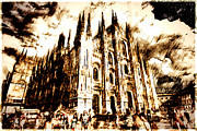 Duomo Cathedral Digital Art Prints - Duomo Print by Andrea Barbieri