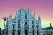 Grey Digital Art Framed Prints - Duomo di Milano Framed Print by Jeff Kolker