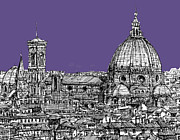 Skylines Drawings Posters - Duomo in lilac Poster by Lee-Ann Adendorff