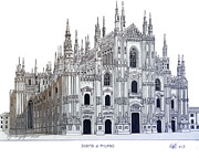 Historic Cathedrals Drawings Posters - Duomo of Milan Poster by Frederic Kohli
