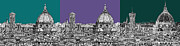 Skylines Drawings Posters - Duomo Triptych lilac and turquoises Poster by Lee-Ann Adendorff