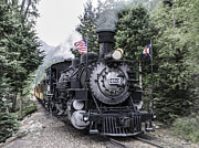 Colorado Flag Photos - Durango Silverton Train by Aaron Spong