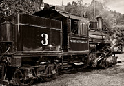Wv Locomotive Photos - Durbin Rocket Old Number Three in monochrome by Kathleen K Parker