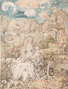 Albrecht Drawings Prints - Durer Drawing Mary and Animals Print by