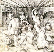 Middle Ages Drawings Prints - Durer Womans Bath Drawing Print by