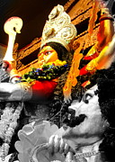 Goddess Durga Photo Posters - Durga And Mahishasura Poster by Chandrima Dhar