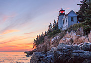 Sunset Scenes. Posters - Dusk at Bass Harbor Light Poster by Stephen Beckwith