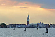 Sarah Christian Framed Prints - Dusk at St. Marks Square Framed Print by Sarah Christian