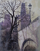 City Skylines Paintings - Dusk at theCharles Bridge by Marina Gnetetsky