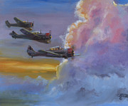 Vintage Aircraft Paintings - Dusk Flight by Christopher Jenkins