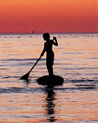 Children At Beach Posters - Dusk Float - Sunset Art Poster by Sharon Cummings